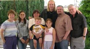 Rick Wakeman with some of the Wooding family in California small