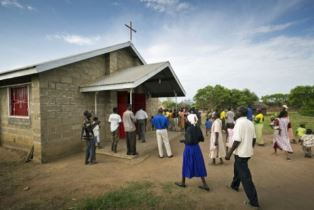 Worshippers attending a church service in South Sudan