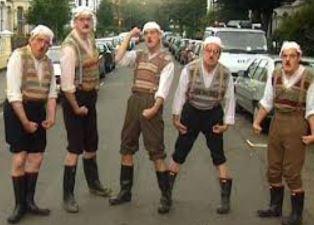 Monty Python team in a street use
