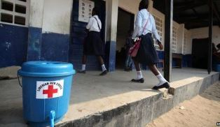 Chlorinated Water placed outside Liberian buildings use