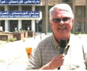 Dan Wooding reporting from outside the Kurdish Parliament in Erbil Northern Iraq