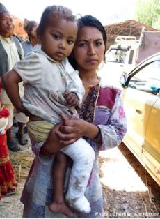 Mother and child after Nepal earthquake Christian Aid