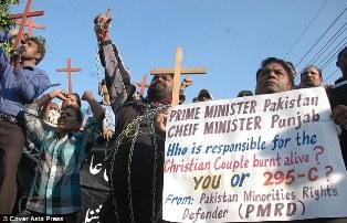 Protestors of the burning of the Christian Couple British Pakistani Christian Association