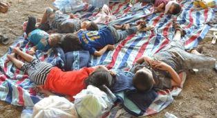 Assyrian refugeses sleeping in the open Sargis