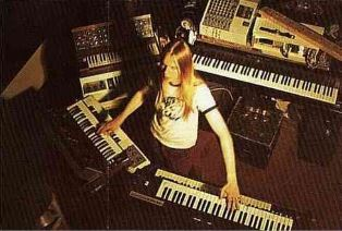 Rick Wakeman with his keyboards playing on a studio album with Yes