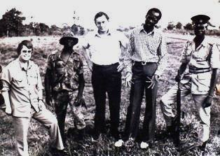 Wooding and Barnett with Soldiers in Uganda