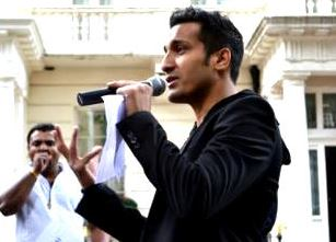 Wilson Chowdhry speaking at a London protest