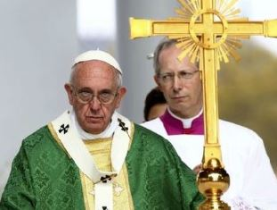 Pope Francis at his final mass in the US
