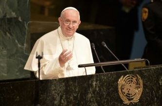 Pope Francis speaking at the UN