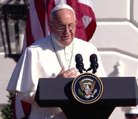 Pope speaking at White House on Climate change