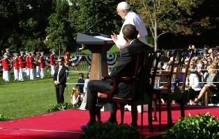 Pope speaking to an audience at the White House