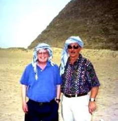 Dan Wooding with Norm Nelson at the Pyramids in Egypt