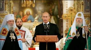 Putin with leaders of the Russian Orthodox Church