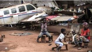 CAR refugees near airport