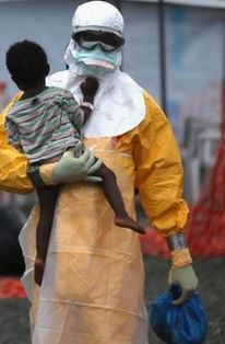 Ebola worker with child
