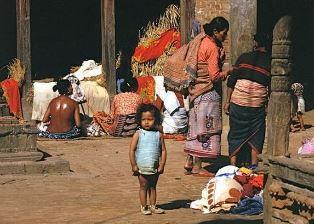 Family in street in Nepal