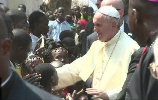 Pope Francis greets people in CAR