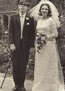 Stephen and Jane Hawkings on their wedding day