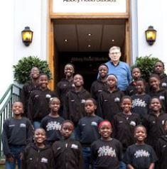 Ray Barnett with choir members