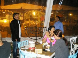 small Hanukka celebration in Israel