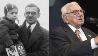Sir Nicholas Winton with child and portrait