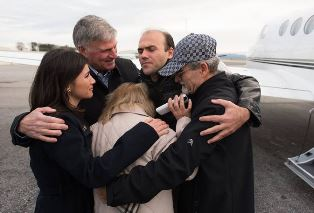 Smaller Saeed Abedini greeted by family in North Carolina and Franklin Graham