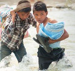 smaller boys escapting the Nepal earthquake GFA