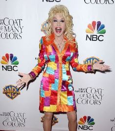 Dolly wearing a COAT OF MANY COLORS
