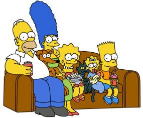 The Simpsons relaxing at home