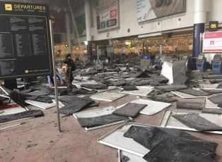 Scene inside the terminal at Brussels Airport