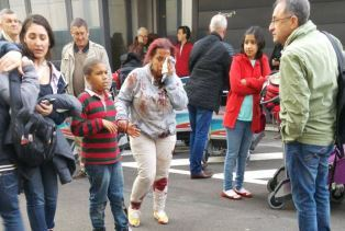 Smaller People escaping the bomb blast at Brussels airport