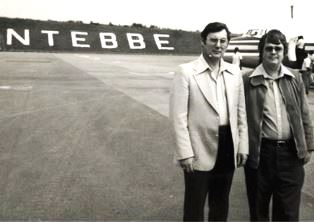 Ray Barnett and Dan Wooding at Entebbe Airport in Uganda