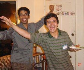 Two international students enjoying a gathering