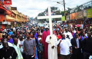 Ugandan Christians protesting persecution in Uganda