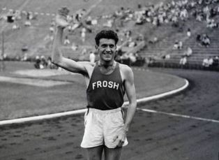 Zamperini acknowledges the cheers at the Berlin Olympics