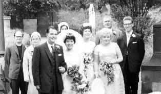 smaller In the churchyard Dan and Normas wedding in 1963