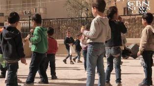 Children in Syrian town