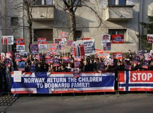 Romanians protest about children being taken from parents