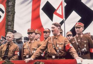 smaller Hitler with his Brownshirts