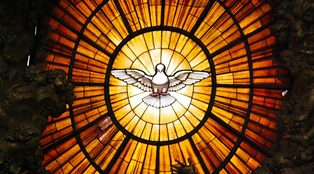 smaller window with the Holy Spirit descening