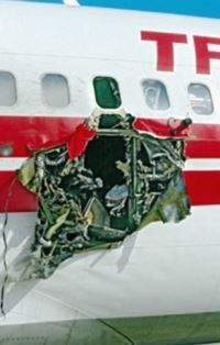 Bomb blast damage in TWA plane