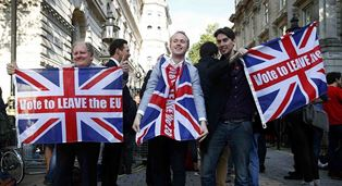 Jubilant Brexit supporters use
