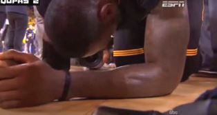 LeBron falls to his knees