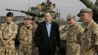 Smaller Tony Blair with British troops in Iraq