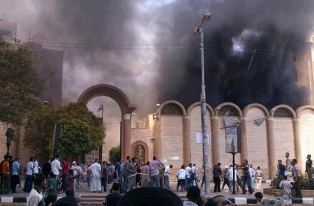 St. Georges Coptic Church in Sohag City Egypt after arsonists set it ablaze