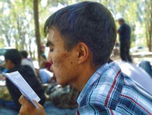 Christian reading the bible in Kazazstan