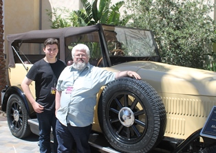 Edward and Andrew pictured by car at Universal