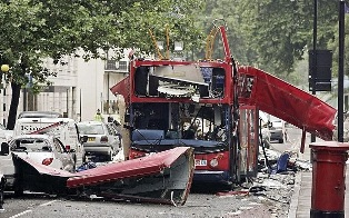 The blown up double decker bus on 77