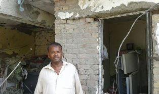 Pakistan mans house damaged