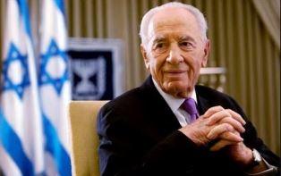 Shimon Peres with Israeli flag